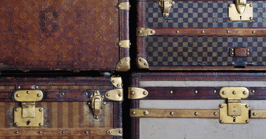 Vier historische Koffer der Marke Louis Vuitton (undatierte Aufnahme).