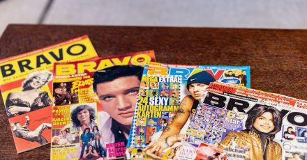 Ausgaben der Bravo mit Marilyn Monroe (l-r), Elvis Presley, Eminem und Michael Jackson auf dem Titel.