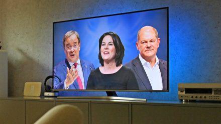 Armin Laschet, Annalena Baerbock und Olaf Scholz (v.l.) werden in den kommenden Wochen zahlreiche TV-Auftritte haben. (wue/spot)