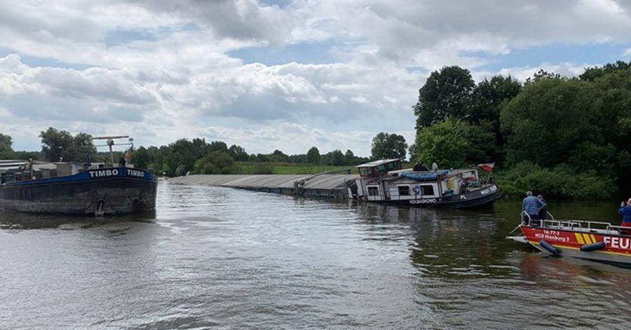 Nach einer Kollision auf der Weser ist ein mit Mais beladenes Schiff untergegangen.