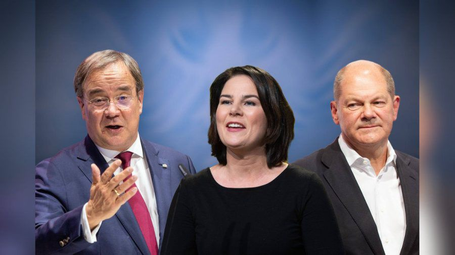 (v.l.n.r.) Armin Laschet (CDU), Annalena Baerbock (Grüne) und Olaf Scholz (SPD) treten am Sonntag zu ihrer ersten Dreier-TV-Debatte an. (elm/spot)