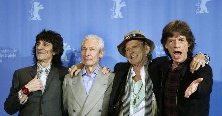Die Rolling Stones - Ron Wood (l-r), Charlie Watts, Keith Richards und Mick Jagger - im Jahr 2008.