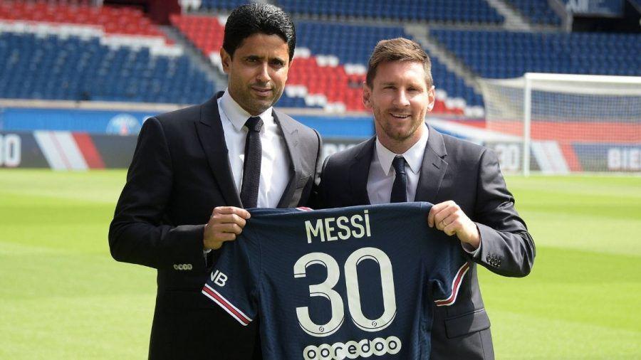 Pressekonferenz mit Lionel Messi in Paris
