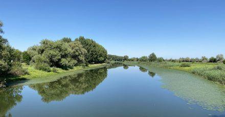 Das Delta, dass die Wolga vor der Mündung ins Kaspische Meer bildet, ist weitläufig - hier ein Fluss nahe Astrachan.