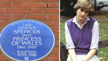 Die blaue Gedenktafel erinnert daran, dass Prinzessin Diana vor ihrer Hochzeit mit Prinz Charles in diesem Haus lebte. (ili/spot)