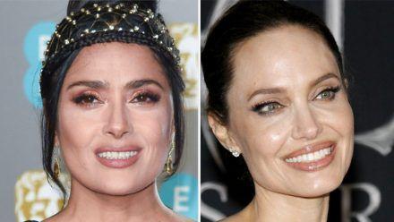 Salma Hayek (li.) versteht sich blendend mit Angelina Jolie. (jom/spot)