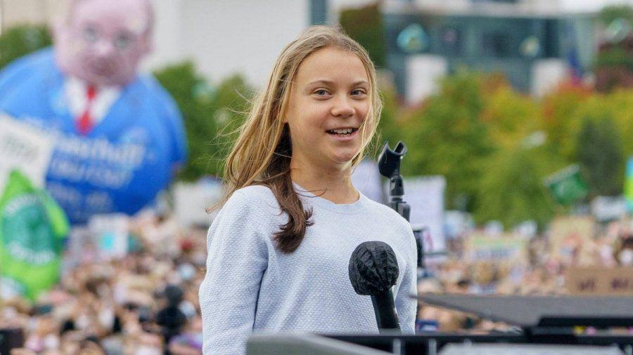 Greta Thunberg während einer Rede in Berlin. (wue/spot)
