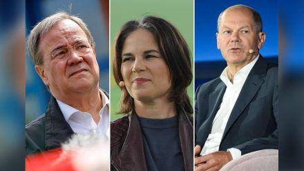 Armin Laschet, Annalena Baerbock und Olaf Scholz bewerben sich um das wichtigste politische Amt in Deutschland. (elm/spot)