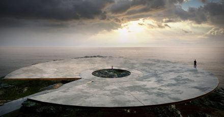 Der Entwurf des Corona-Erinnerungsmals vom Architekten Martin Gomez Platero in Montevideo (Uruguay). Eine 40 Meter breite Plattform im Meer soll über einen Steg mit dem Ufer verbunden werden.