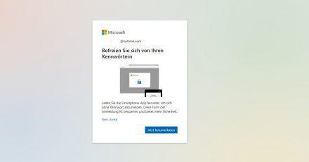 Microsoft wirbt mit einemPop-up fürs kennwortlose Konto.