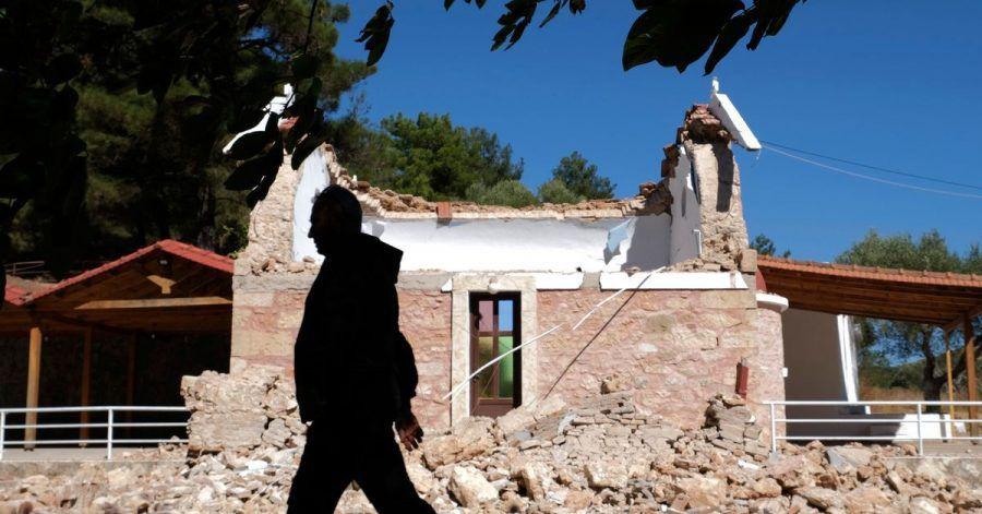 Bei dem Erdbeben auf Kreta wurde diese griechisch-orthodoxe Kapelle beschädigt.