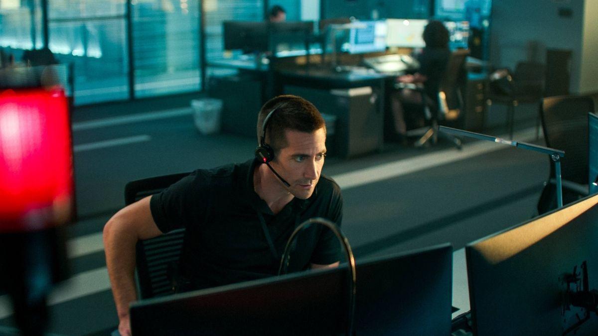 """Jake Gyllenhaal während """"The Guilty"""" auf einem Stuhl gefangen"""" class=""""size-full wp-image-974738"""
