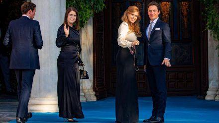 Jack Brooksbank, Prinzessin Eugenie, Prinzessin Beatrice und Edoardo Mapelli Mozzi (v.li.) besuchten gemeinsam eine Hochzeit. (tae/spot)