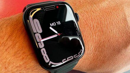 Im Test war eine Apple Watch Series 7 mit 45 mm Aluminiumgehäuse in der Farbe Mitternacht mit einem Lederarmband in Schwarzgrün. (dr/spot)