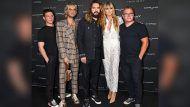 Heidi Klum mit (v.li.) Georg Listing, Bill und Tom Kaulitz sowie Gustav Schäfer auf der Release-Party der neuen Tokio-Hotel-Single. (tae/spot)