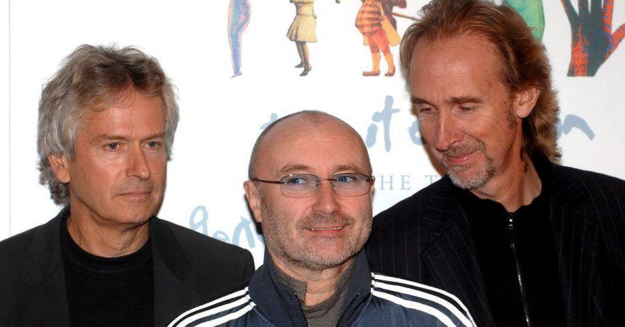 Tony Banks (l-r), Phil Collins und Mike Rutherford von der Band Genesis.
