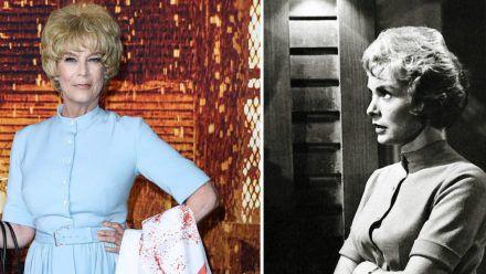 """Jamie Lee Curtis bei der """"Halloween Kills""""-Premiere (l.) und Janet Leigh im Film """"Psycho"""". (ili/spot)"""