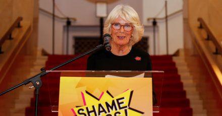 Camilla, Herzogin von Cornwall, spricht  während eines Empfangs für das «Shameless! Festival»gegen sexuelle Gewalt in London.