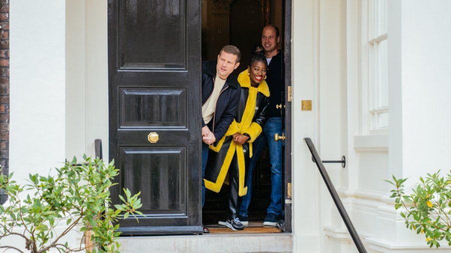 Prinz William und die Moderatoren Dermot O'Leary und Clara Amfo. (jom/spot)