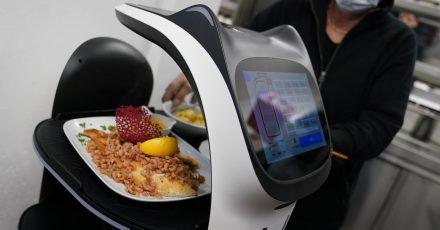 Der Servierroboter «Bella» wird in der Küche des Restaurants in Grömitz mit  Gerichten für die Gäste beladen.