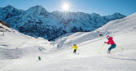 Abfahrt vom Schilthorn:Das Skigebiet Mürren liegt imBerner Oberland.