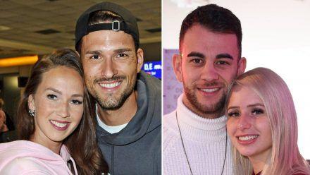 """Sowohl Christina Grass und Marco Cerullo (l.) als auch Serkan Yavuz und Carina Spack (r.) gingen als Paare aus """"Bachelor in Paradise"""" heraus. (jru/spot)"""
